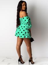 Polka Dot Off Shoulder Drawstring Crop Top And Shorts Set