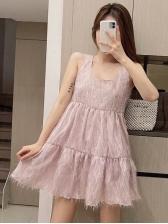 Large Hem Tassel Pink Sleeveless Mini Dress