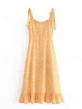Summer Sleeveless Yellow Floral Dress For Women