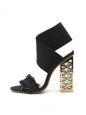 Denim Tassel Hollow Block Heel Sandals
