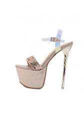 Hologram Platform Stiletto Studded Open Toe Sandals
