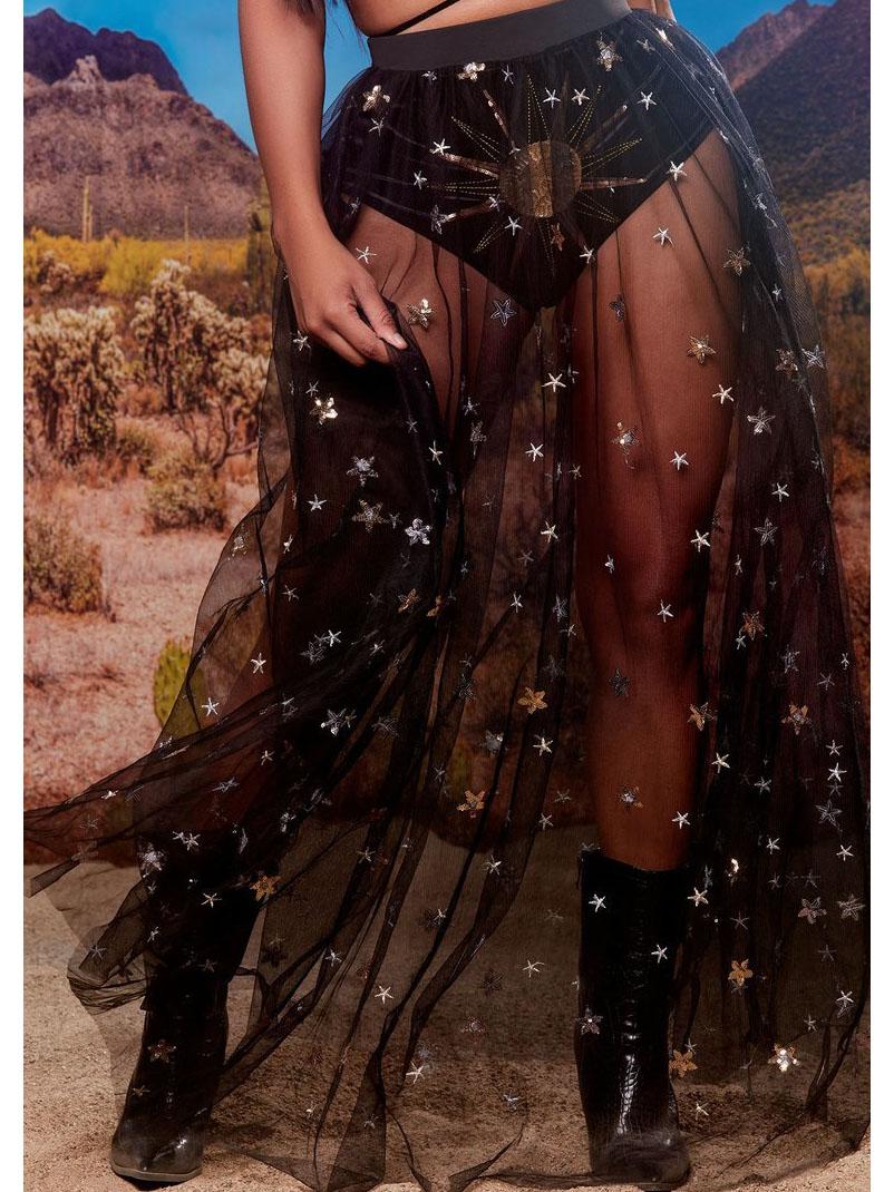 Sparkly Star Printed See Through Mesh Long Skirt
