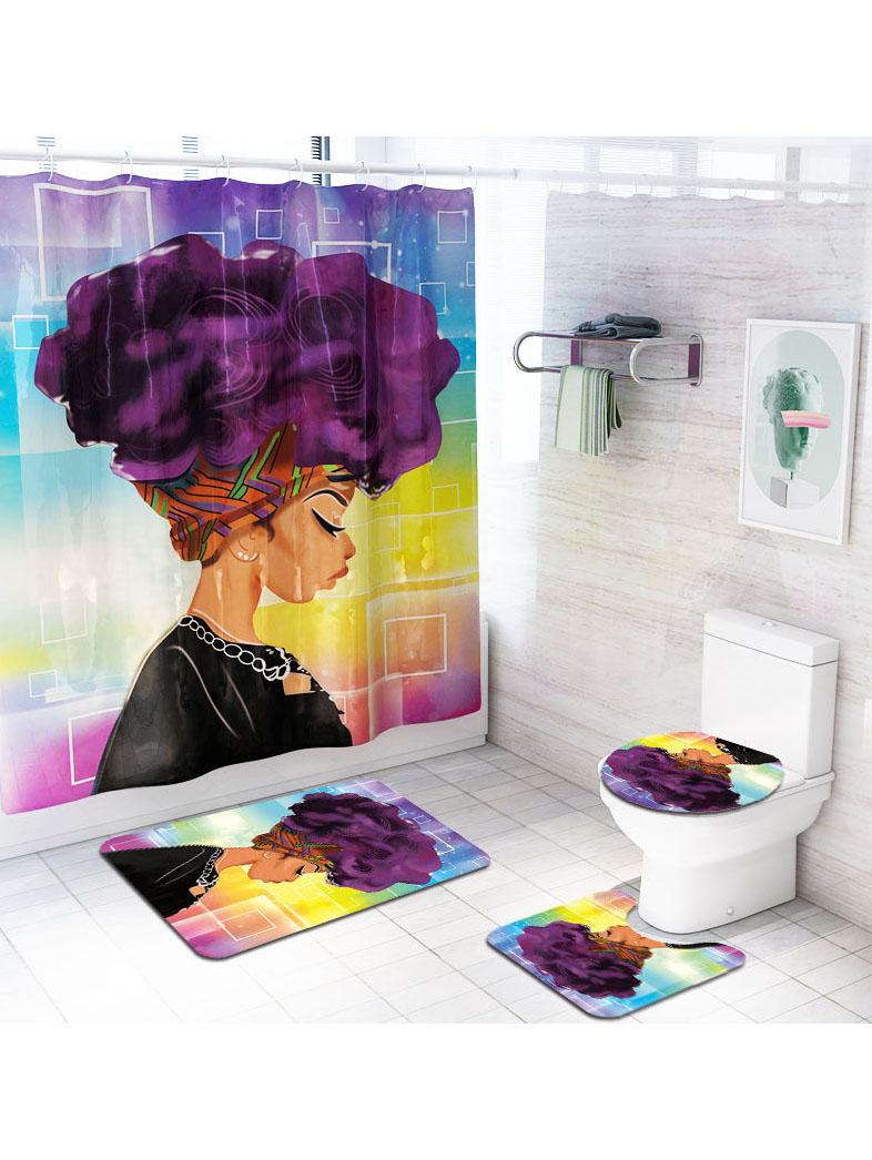 African Women Pattern Bath Curtain Four Piece Doormat