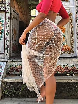 Beach Wear See Through Beading Irregular Slit Skirt