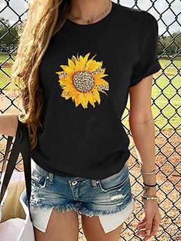 Leopard Penal Sunflower Print T-shirts For Women