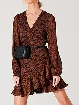 V Neck Leopard Frill Long Sleeve Dress