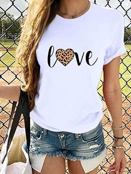 Leopard Letter Print Casual Cheap T-shirts
