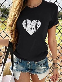 Heart Print Short Sleeve Ladies T Shirts