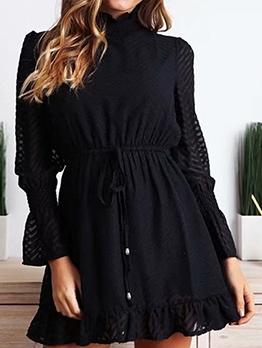 Fill Mock Neck Black Long Sleeve Dress