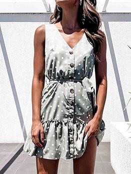 Single-Breasted Polka Dots Sleeveless Dress