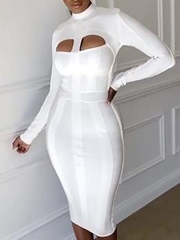 Boutique Mock Neck Cut-Out Long Sleeve Dress