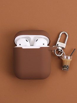 Silica Gel Solid Airpods Cover With Milk Tea Pendant