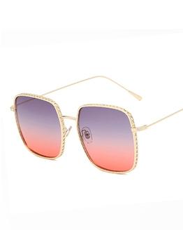 Gradient Color Lenses Metal Frame Sunglasses For Women