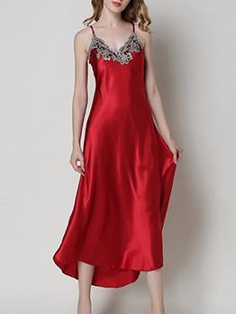 Casual Lace Patchwork Faux Silk Long Sleep Slip Dress