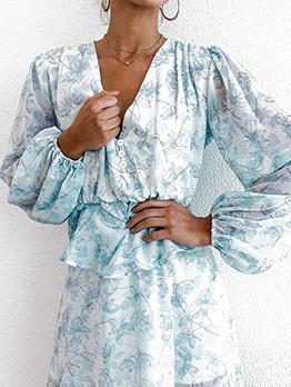 Bohemian v Neck Button Down Long Sleeve Dress