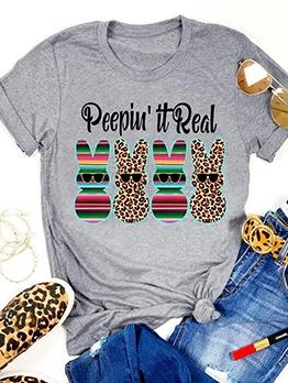 Leopard Rabbit Print Short Sleeve Cute T Shirts