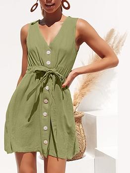 Summer Single-Breasted Tie-Wrap Vest Dress
