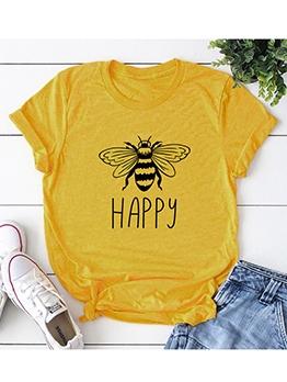 Cartoon Bee Print Cotton Cute T-shirt