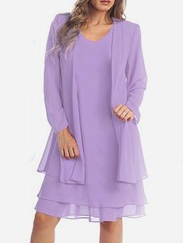 Flounced Hem Long Sleeve Chiffon Purple 2 Piece Dress