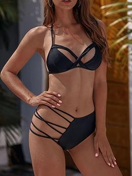 Sexy Backless Irregular Black String Bikini