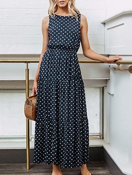 Smart Waist Sleeveless Polka Dot Maxi Dress