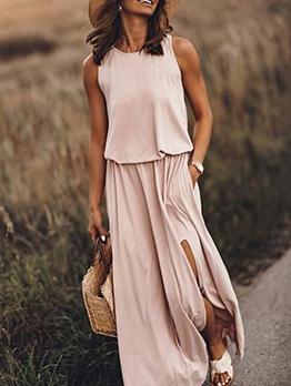 Split Hem Blush Sleeveless Maxi Dress Casual