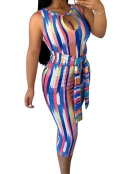 Keyhole Neck Colorful Print Sleeveless Dress