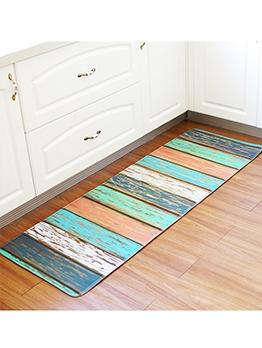 Colorful Wooden Printed Striped Anti-Skip Doormat