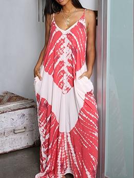 Euro Print Loose Sleeveless Maxi Dress Casual