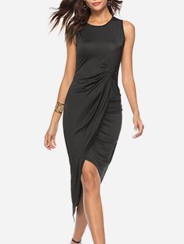 Front Twist Irregular Hem Sleeveless Midi Dress