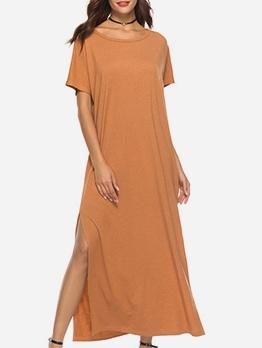 Euro Large Hem Short Sleeve T-Shirt Maxi Dress