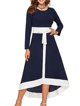 Irregular Hem Color Block Casual Dresses