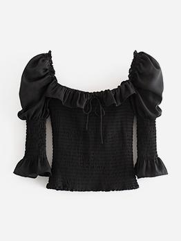 Vintage Square Neck Elastic Black Blouse