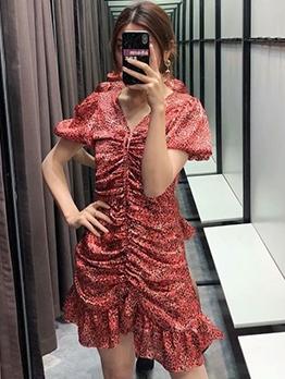 Flounced Hem Draped Print Short Dress