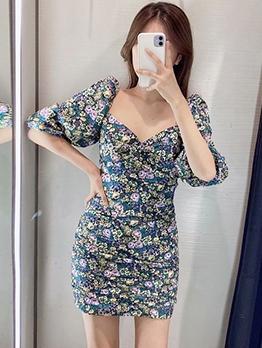 Lantern Sleeve Floral Bodycon Dress