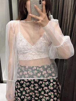 Fashion White Lantern Sleeve See Through Blouse