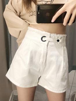 Easy Matching White Denim High Waisted Shorts