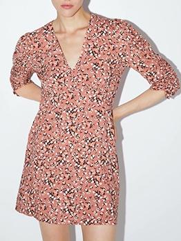 Hot Sale V Neck Long Sleeve Floral Short Dress