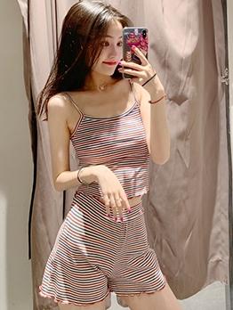 Casual Striped Sleeveless 2 Piece Skirt Set