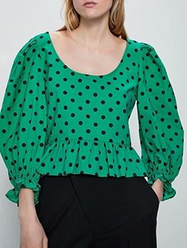Fashion U Neck Ruffled Hem Polka Dot Blouse