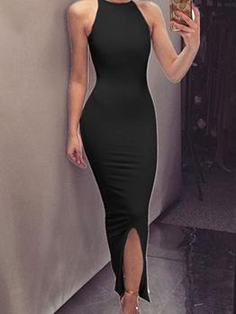 Split Hem Solid Skinny Long Evening Dress