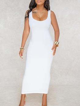 Square Neck Sleeveless Summer Maxi Dress