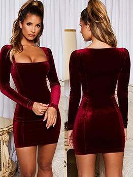 Low Square Neck Velvet Long Sleeve Party Dress