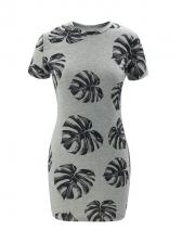 Leaves Print Gray Short Sleeve Dress Casual