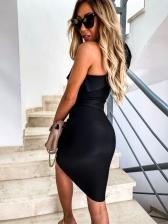 Ruffle Detail One Shoulder Short Cocktail Dresses
