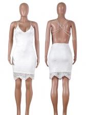 Deep V Neck Backless White Lace Dress