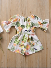Flare Sleeve Sunflower Print Little Girl Casual Dresses