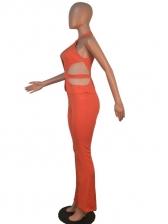 Chic Design Patchwork Halter Sleeveless Jumpsuit