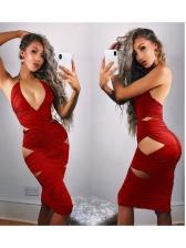 Deep V Neck Hollow Out Halter Sexy Dress