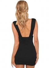 Deep V Neck Backless Sleeveless Sheath Dress